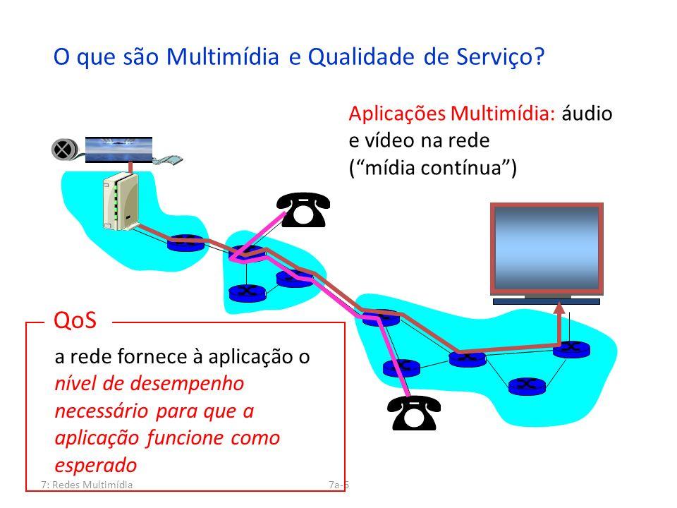 7: Redes Multimídia7a-6 O que são Multimídia e Qualidade de Serviço? Aplicações Multimídia: áudio e vídeo na rede (mídia contínua) QoS a rede fornece