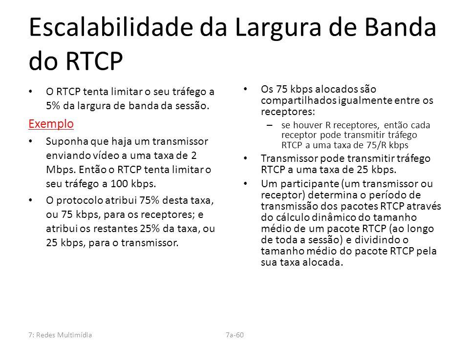 7: Redes Multimídia7a-60 Escalabilidade da Largura de Banda do RTCP O RTCP tenta limitar o seu tráfego a 5% da largura de banda da sessão. Exemplo Sup