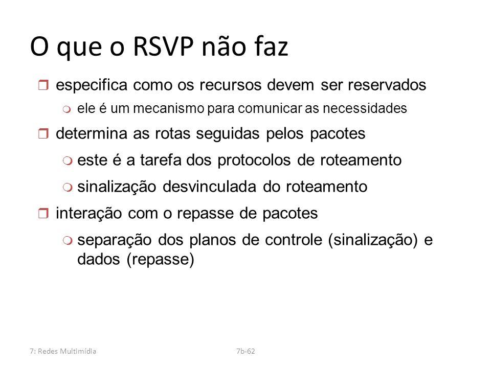 7: Redes Multimídia7b-62 O que o RSVP não faz r especifica como os recursos devem ser reservados m ele é um mecanismo para comunicar as necessidades r