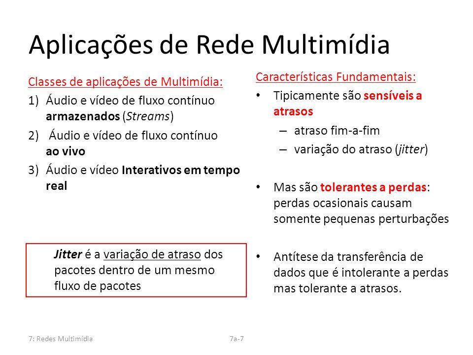 7: Redes Multimídia7a-7 Aplicações de Rede Multimídia Características Fundamentais: Tipicamente são sensíveis a atrasos – atraso fim-a-fim – variação