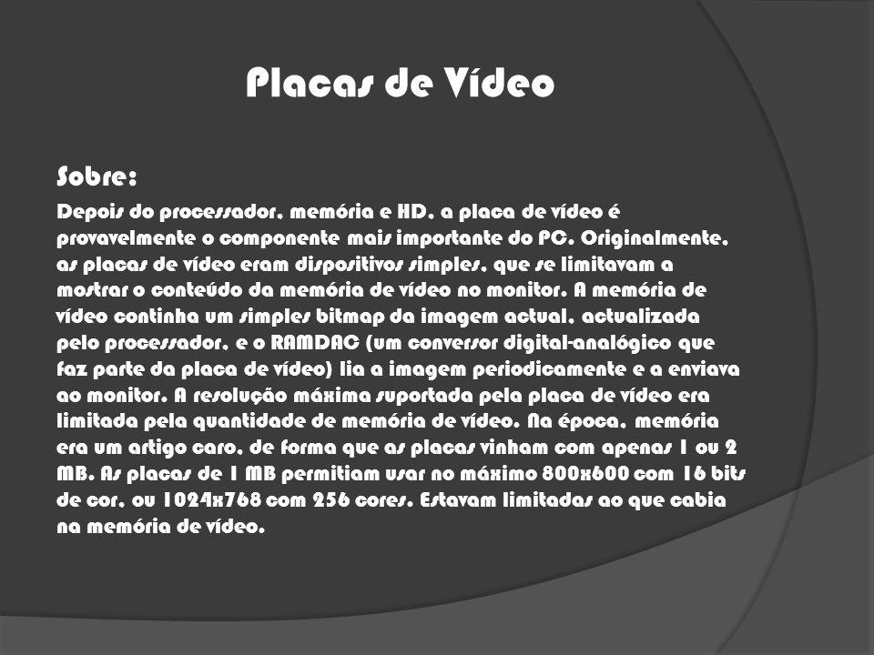Placas de Vídeo Sobre: Depois do processador, memória e HD, a placa de vídeo é provavelmente o componente mais importante do PC. Originalmente, as pla