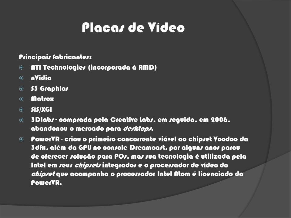 Placas de Vídeo Principais fabricantes: ATI Technologies (incorporada à AMD) nVidia S3 Graphics Matrox SiS/XGI 3Dlabs - comprada pela Creative Labs, e