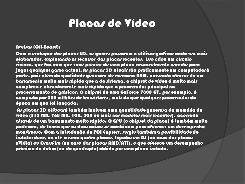 Placas de Vídeo Avulsas (Off-Board): Com a evolução das placas 3D, os games passaram a utilizar gráficos cada vez mais elaborados, explorando os recur