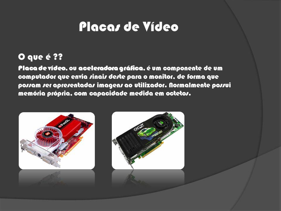 Placas de Vídeo O que é ?? Placa de vídeo, ou aceleradora gráfica, é um componente de um computador que envia sinais deste para o monitor, de forma qu