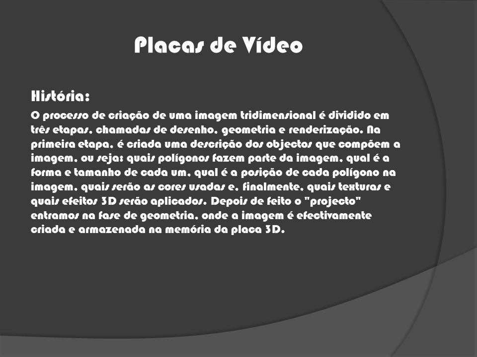 Placas de Vídeo História: O processo de criação de uma imagem tridimensional é dividido em três etapas, chamadas de desenho, geometria e renderização.