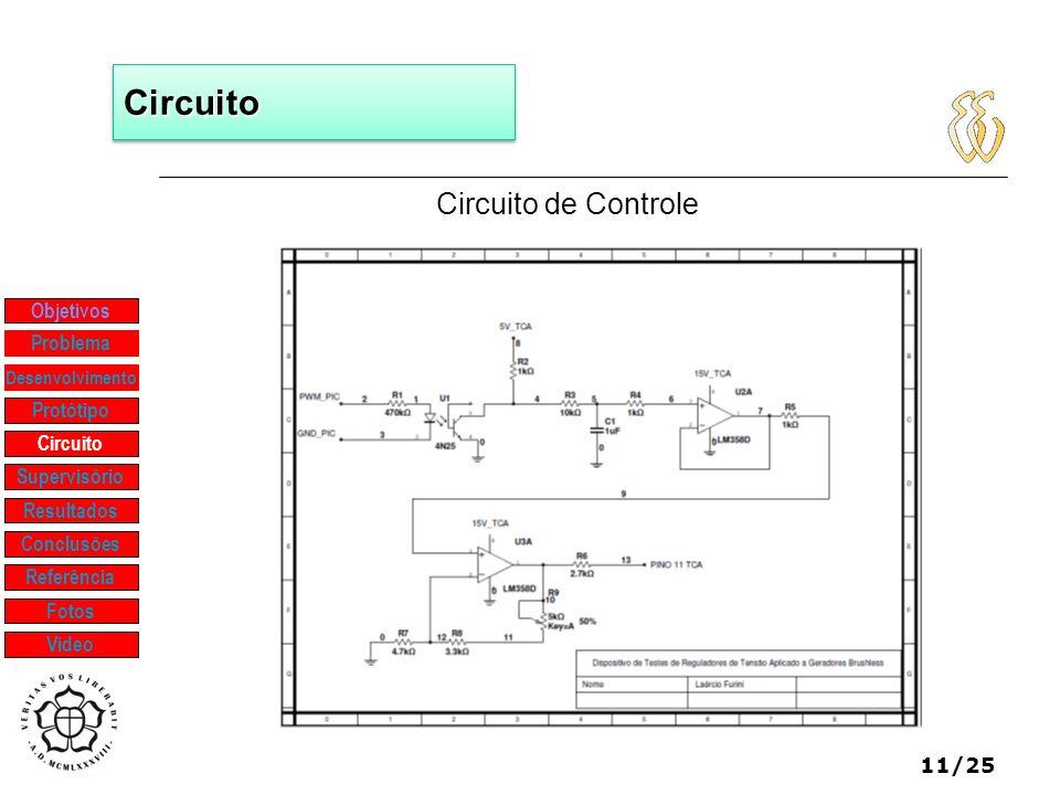 11/25 CircuitoCircuito Circuito de Controle Objetivos Protótipo Supervisório Resultados Problema Desenvolvimento Conclusões Referência Fotos Vídeo Cir