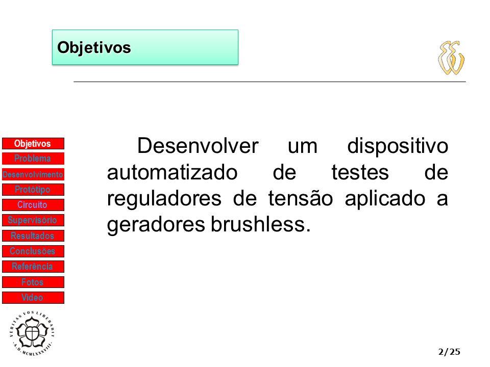2/25 ObjetivosObjetivos Desenvolver um dispositivo automatizado de testes de reguladores de tensão aplicado a geradores brushless. Objetivos Protótipo