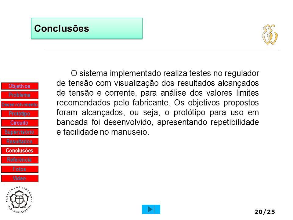 20/25 ConclusõesConclusões O sistema implementado realiza testes no regulador de tensão com visualização dos resultados alcançados de tensão e corrent