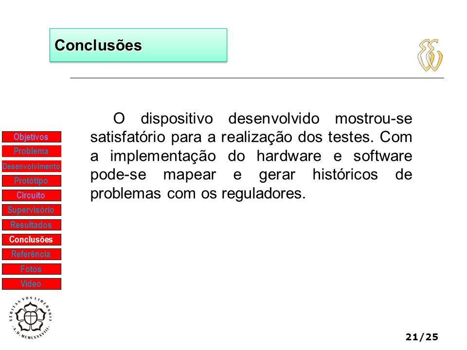 21/25 ConclusõesConclusões O dispositivo desenvolvido mostrou-se satisfatório para a realização dos testes. Com a implementação do hardware e software
