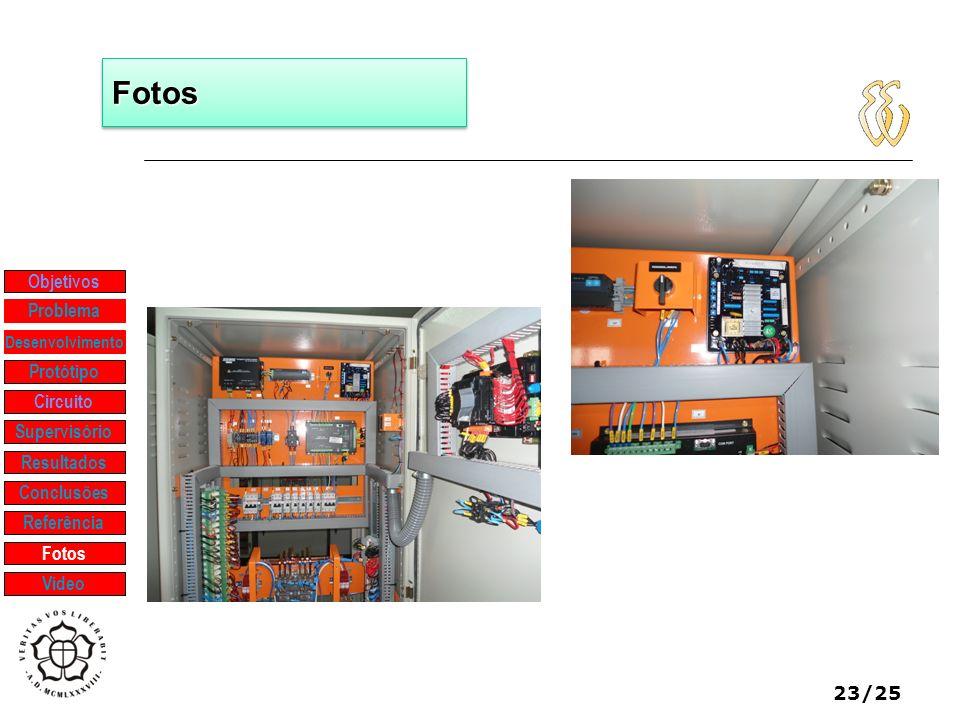 23/25 FotosFotos Objetivos Protótipo Supervisório Resultados Problema Desenvolvimento Conclusões Referência Fotos Vídeo Circuito