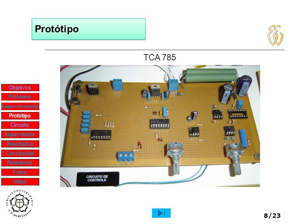 8/23 ProtótipoProtótipo TCA 785 Objetivos Protótipo Supervisório Resultados Problema Desenvolvimento Conclusões Referência Fotos Vídeo Circuito