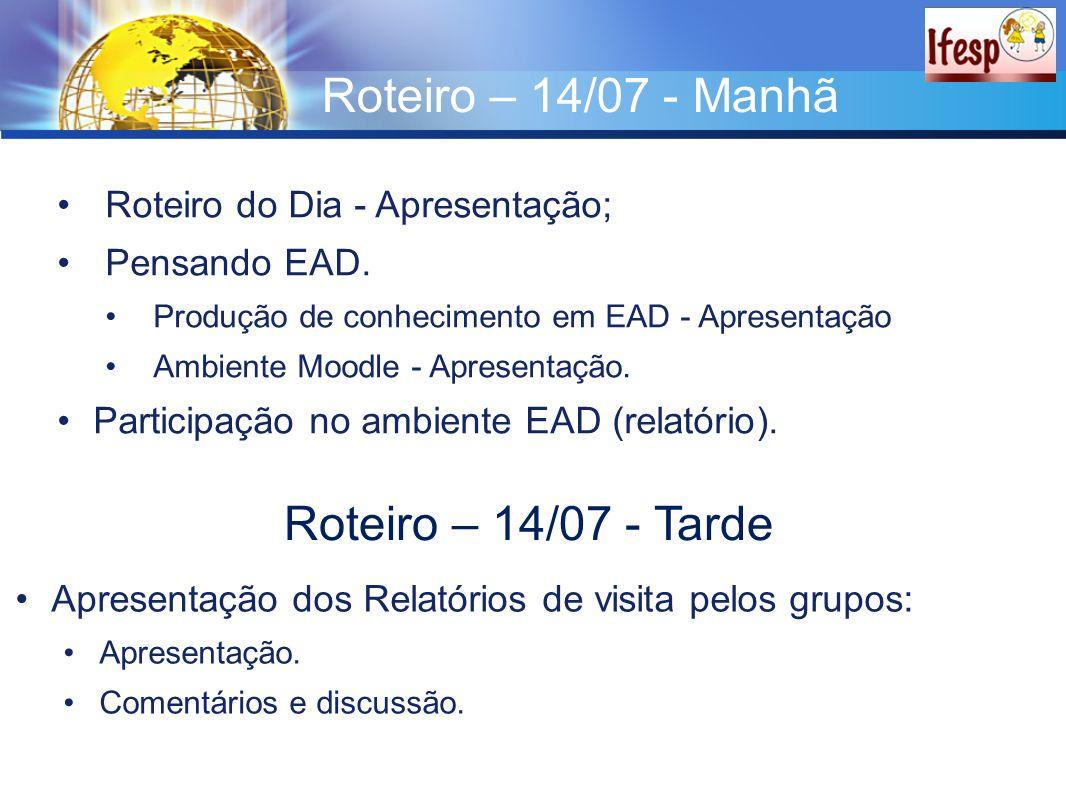 Roteiro – 14/07 - Manhã Roteiro do Dia - Apresentação; Pensando EAD. Produção de conhecimento em EAD - Apresentação Ambiente Moodle - Apresentação. Pa