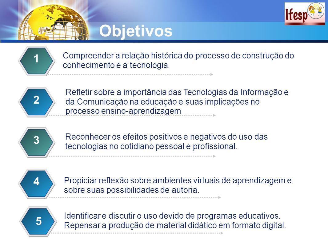 Objetivos Compreender a relação histórica do processo de construção do conhecimento e a tecnologia. 1 Refletir sobre a importância das Tecnologias da
