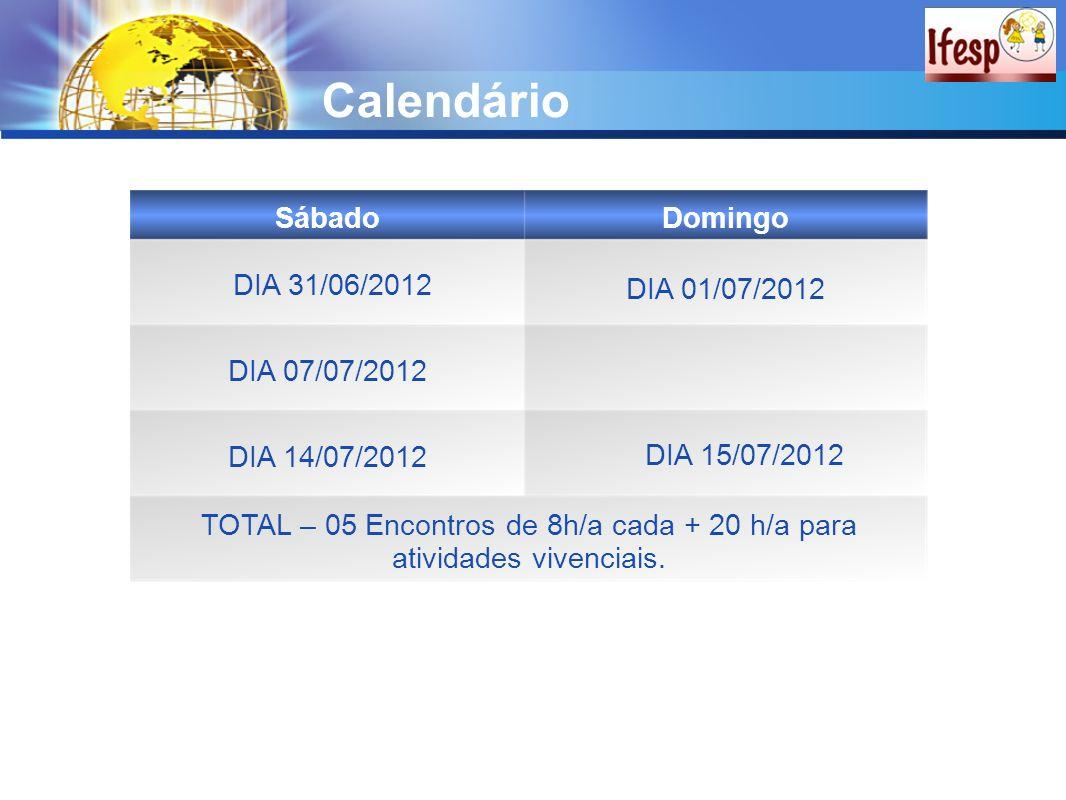 Calendário SábadoDomingo DIA 31/06/2012 DIA 07/07/2012 DIA 15/07/2012 DIA 14/07/2012 TOTAL – 05 Encontros de 8h/a cada + 20 h/a para atividades vivenc