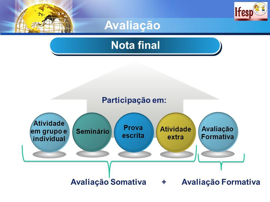 Avaliação Nota final Participação em: Atividade extra Prova escrita Seminário Atividade em grupo e individual Avaliação Formativa Avaliação SomativaAv