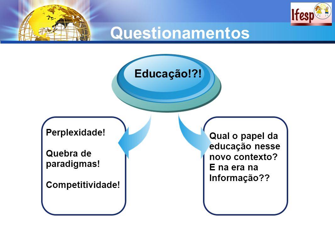 Questionamentos Perplexidade! Quebra de paradigmas! Competitividade! Educação!?! Qual o papel da educação nesse novo contexto? E na era na Informação?