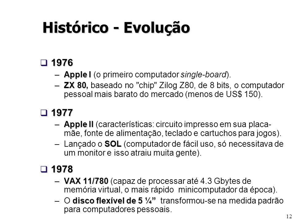 12 1976 1976 –Apple I –Apple I (o primeiro computador single-board). –ZX 80 –ZX 80, baseado no