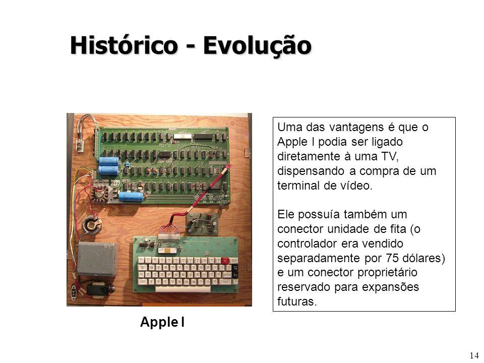 14 Apple I Histórico - Evolução Uma das vantagens é que o Apple I podia ser ligado diretamente à uma TV, dispensando a compra de um terminal de vídeo.