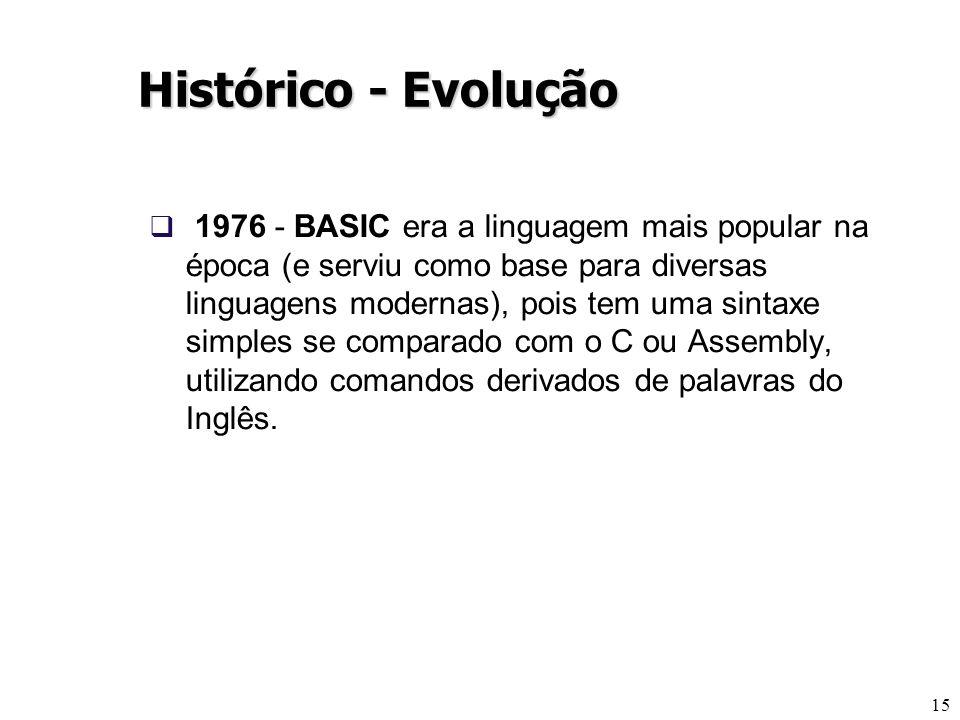 15 Histórico - Evolução 1976 - BASIC era a linguagem mais popular na época (e serviu como base para diversas linguagens modernas), pois tem uma sintax