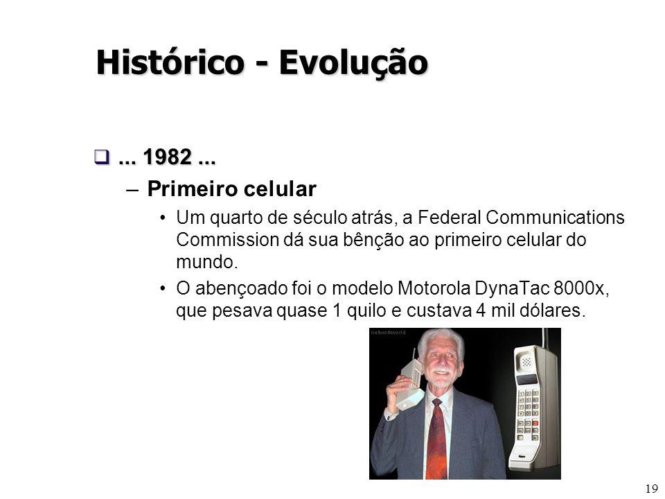 19... 1982...... 1982... –Primeiro celular Um quarto de século atrás, a Federal Communications Commission dá sua bênção ao primeiro celular do mundo.