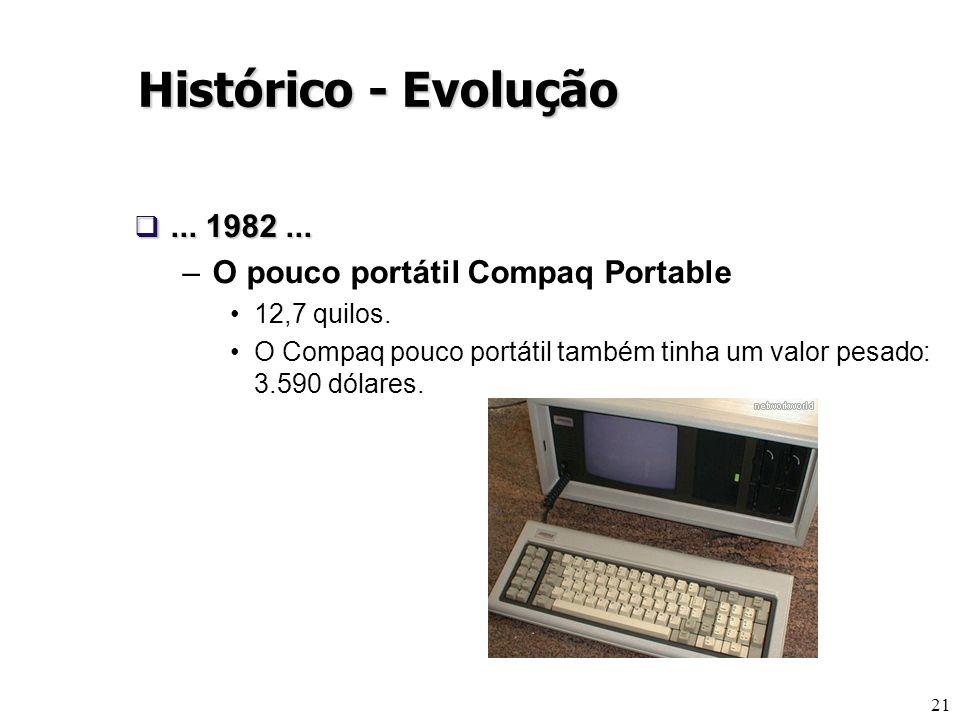 21... 1982...... 1982... –O pouco portátil Compaq Portable 12,7 quilos. O Compaq pouco portátil também tinha um valor pesado: 3.590 dólares. Histórico