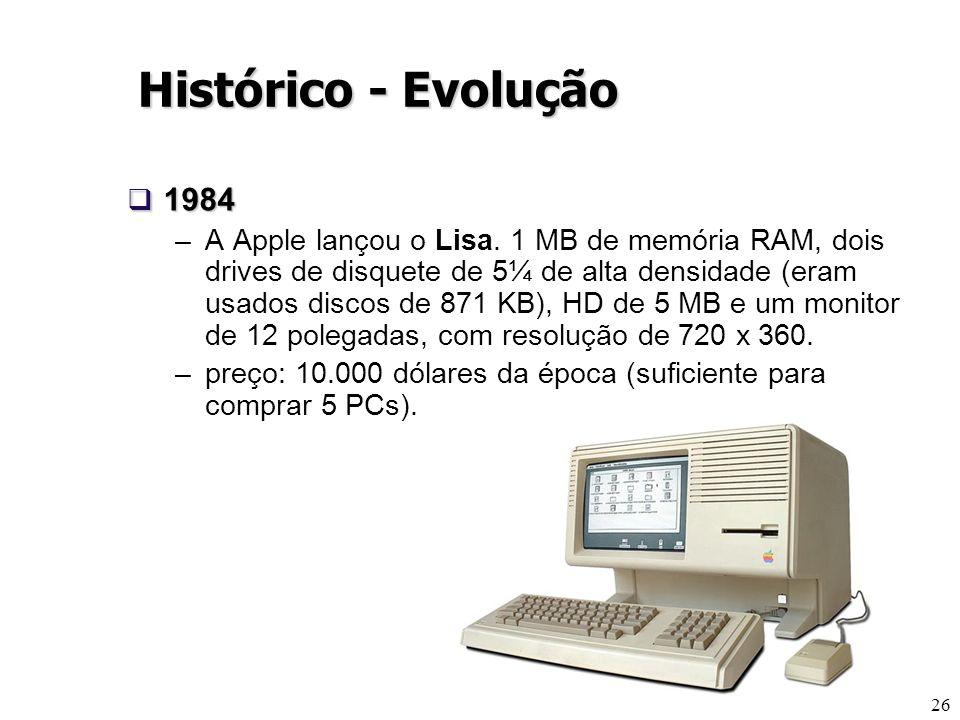 26 1984 1984 –A Apple lançou o Lisa. 1 MB de memória RAM, dois drives de disquete de 5¼ de alta densidade (eram usados discos de 871 KB), HD de 5 MB e