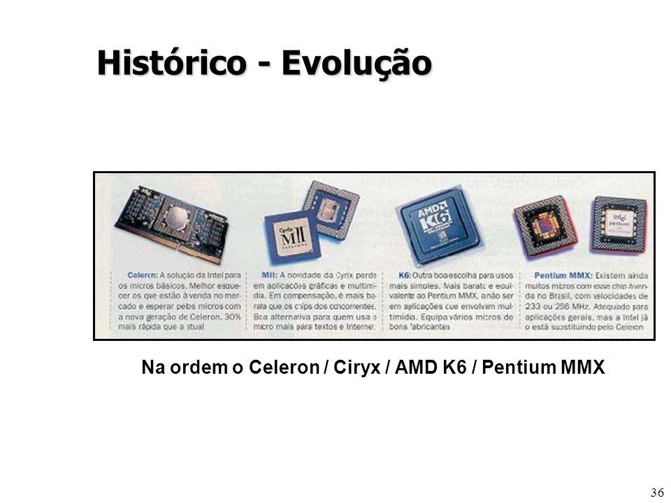 36 Na ordem o Celeron / Ciryx / AMD K6 / Pentium MMX Histórico - Evolução