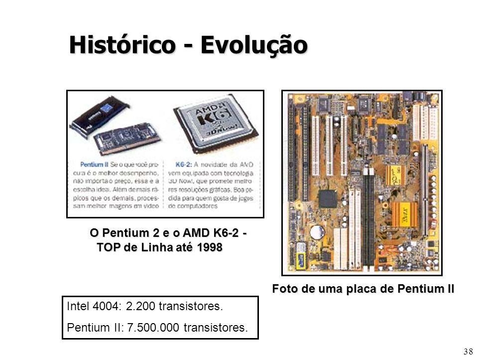 38 O Pentium 2 e o AMD K6-2 - TOP de Linha até 1998 Foto de uma placa de Pentium II Histórico - Evolução Intel 4004: 2.200 transistores. Pentium II: 7