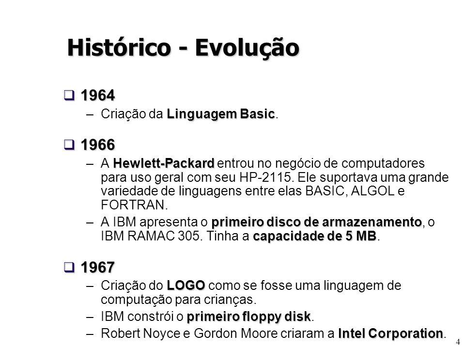 4 1964 1964 Linguagem Basic –Criação da Linguagem Basic. 1966 1966 Hewlett-Packard –A Hewlett-Packard entrou no negócio de computadores para uso geral