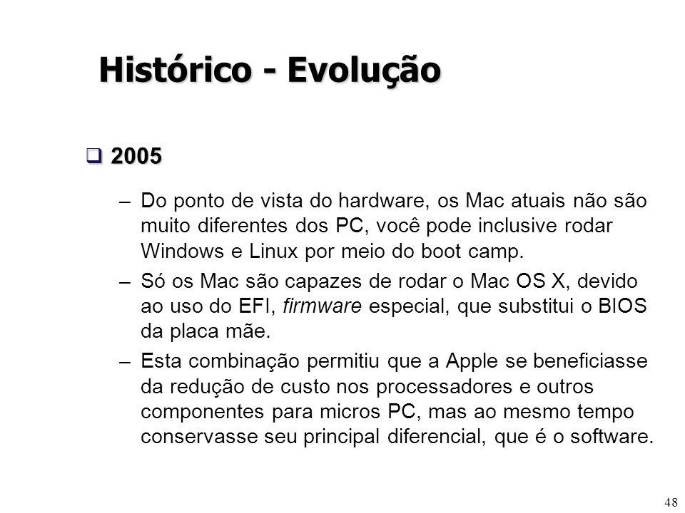 48 Histórico - Evolução 2005 2005 –Do ponto de vista do hardware, os Mac atuais não são muito diferentes dos PC, você pode inclusive rodar Windows e L