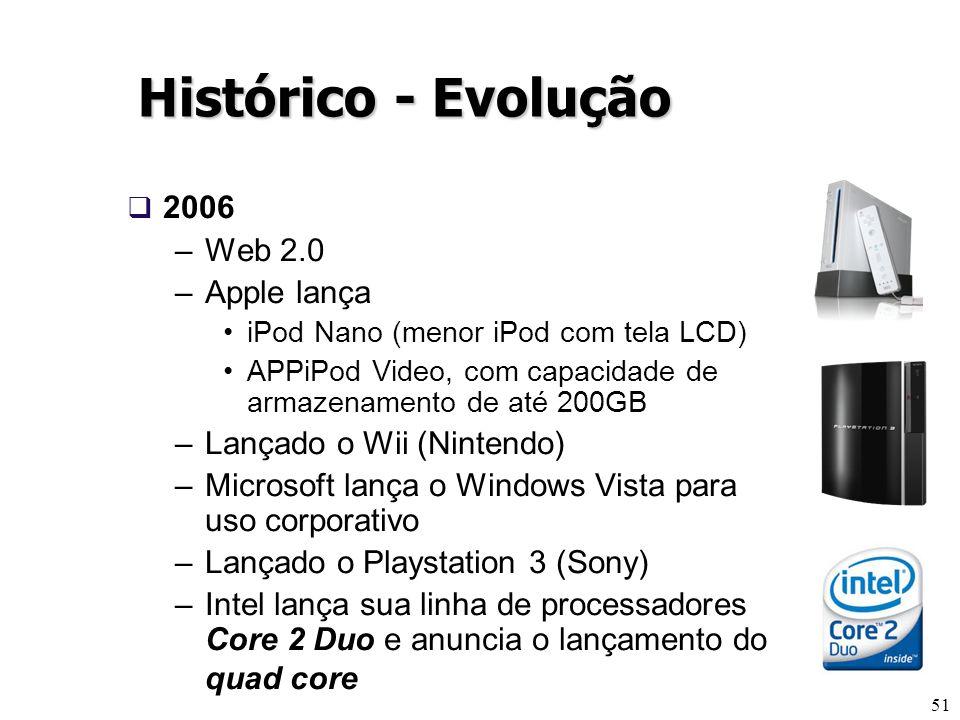 51 Histórico - Evolução 2006 –Web 2.0 –Apple lança iPod Nano (menor iPod com tela LCD) APPiPod Video, com capacidade de armazenamento de até 200GB –La