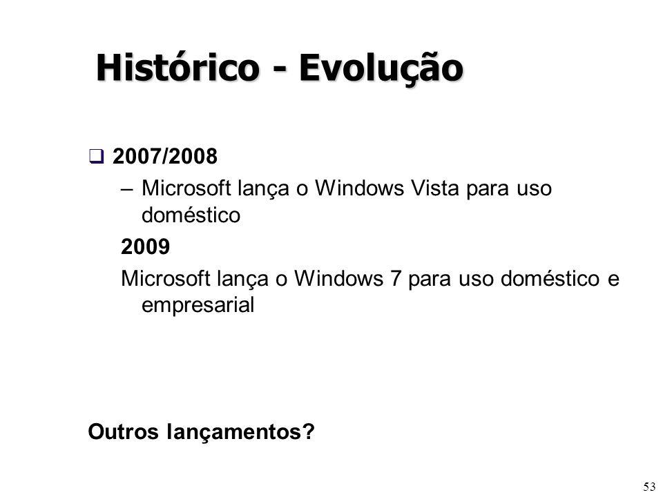 53 Histórico - Evolução 2007/2008 –Microsoft lança o Windows Vista para uso doméstico 2009 Microsoft lança o Windows 7 para uso doméstico e empresaria