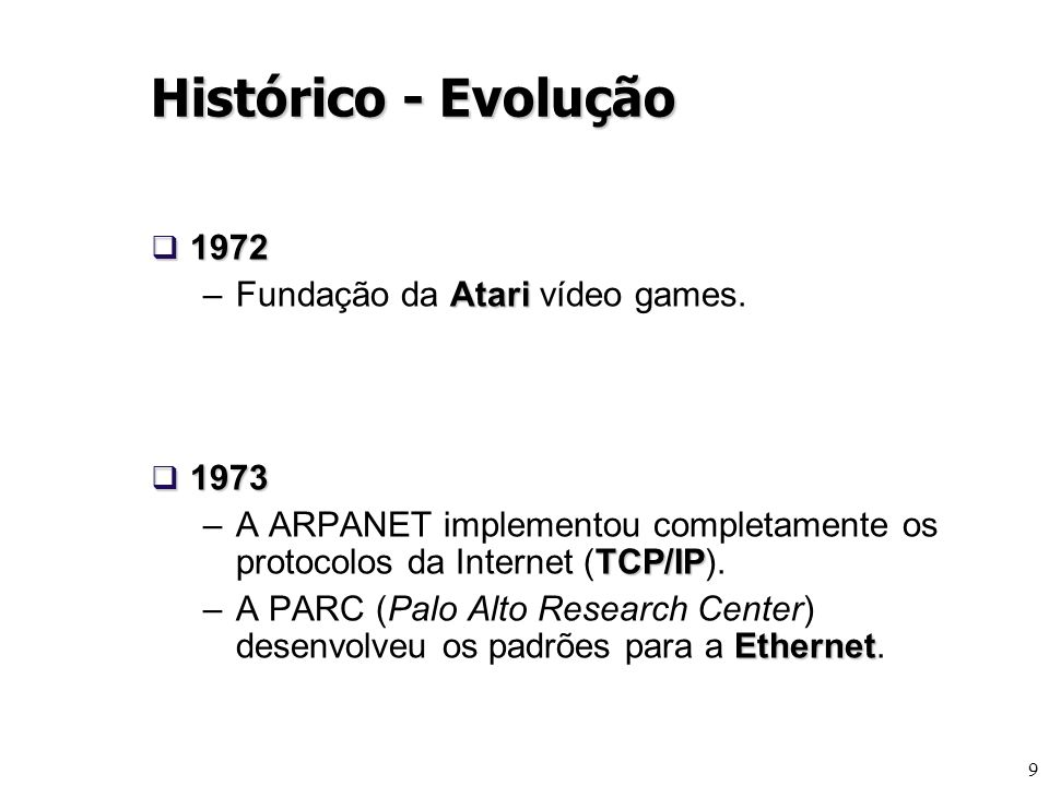 9 1972 1972 Atari –Fundação da Atari vídeo games. 1973 1973 TCP/IP –A ARPANET implementou completamente os protocolos da Internet (TCP/IP). Ethernet –