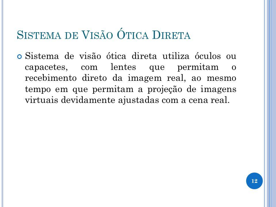S ISTEMA DE V ISÃO Ó TICA D IRETA Sistema de visão ótica direta utiliza óculos ou capacetes, com lentes que permitam o recebimento direto da imagem re