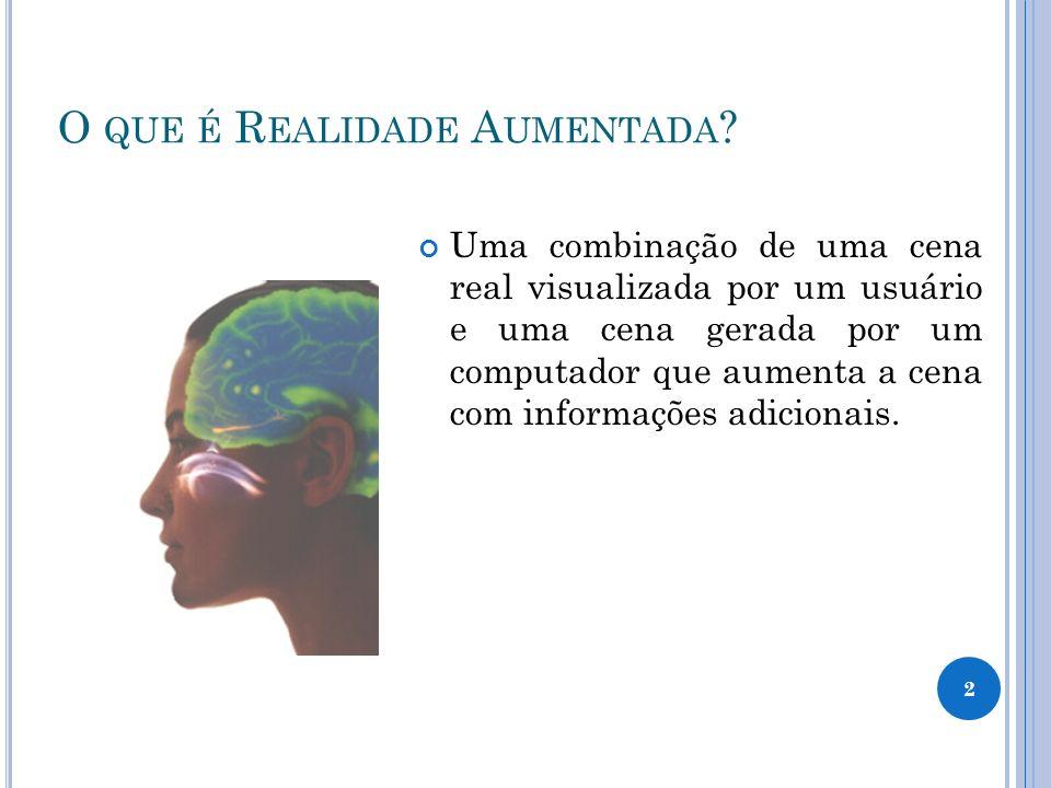 2 O QUE É R EALIDADE A UMENTADA ? Uma combinação de uma cena real visualizada por um usuário e uma cena gerada por um computador que aumenta a cena co