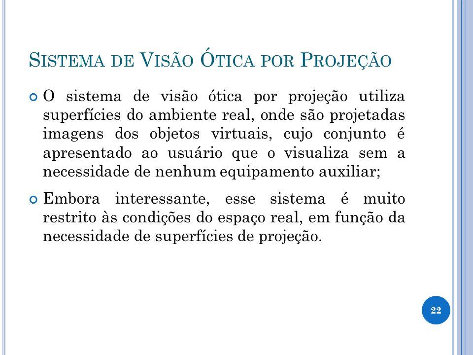 S ISTEMA DE V ISÃO Ó TICA POR P ROJEÇÃO O sistema de visão ótica por projeção utiliza superfícies do ambiente real, onde são projetadas imagens dos ob