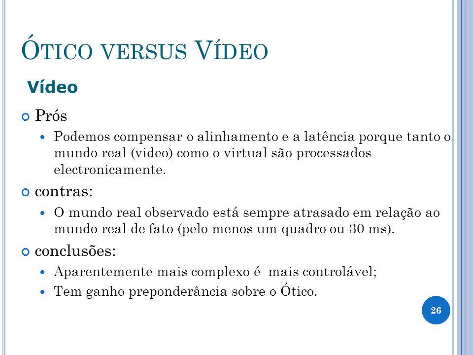 Ó TICO VERSUS V ÍDEO Vídeo Prós Podemos compensar o alinhamento e a latência porque tanto o mundo real (video) como o virtual são processados electronicamente.