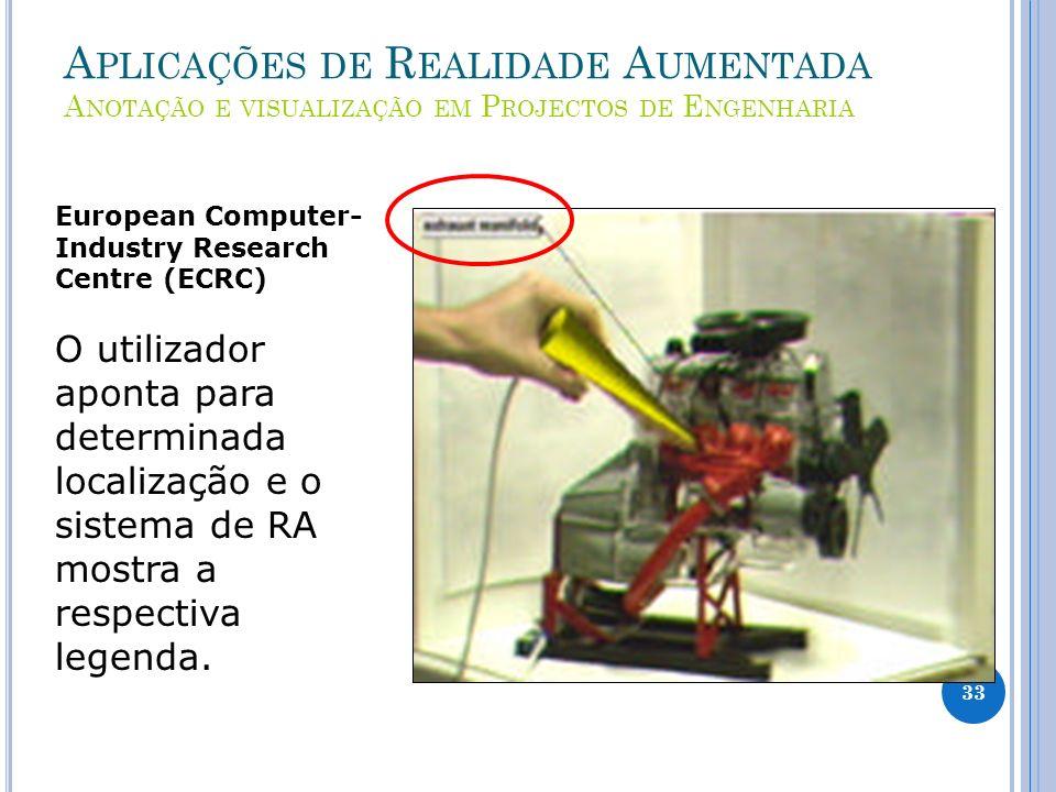 A PLICAÇÕES DE R EALIDADE A UMENTADA A NOTAÇÃO E VISUALIZAÇÃO EM P ROJECTOS DE E NGENHARIA European Computer- Industry Research Centre (ECRC) O utiliz