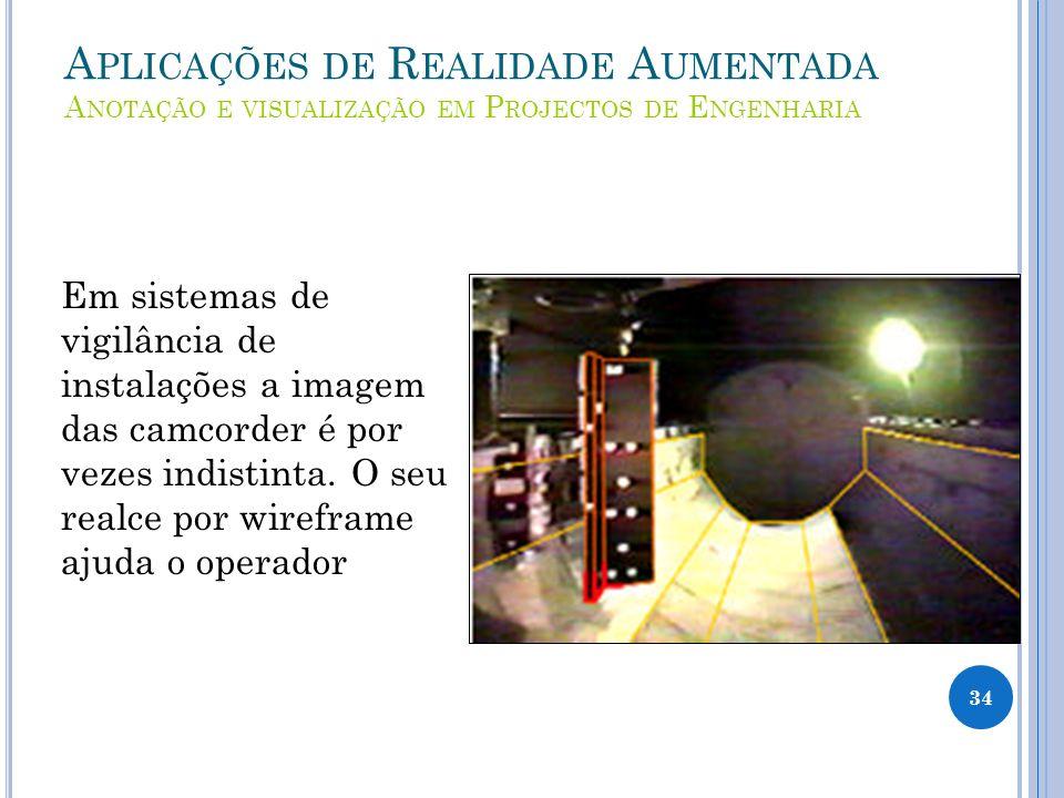 A PLICAÇÕES DE R EALIDADE A UMENTADA A NOTAÇÃO E VISUALIZAÇÃO EM P ROJECTOS DE E NGENHARIA Em sistemas de vigilância de instalações a imagem das camcorder é por vezes indistinta.