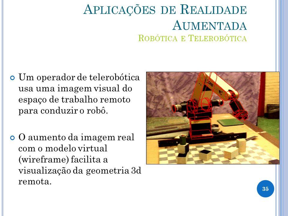 A PLICAÇÕES DE R EALIDADE A UMENTADA R OBÓTICA E T ELEROBÓTICA Um operador de telerobótica usa uma imagem visual do espaço de trabalho remoto para conduzir o robô.