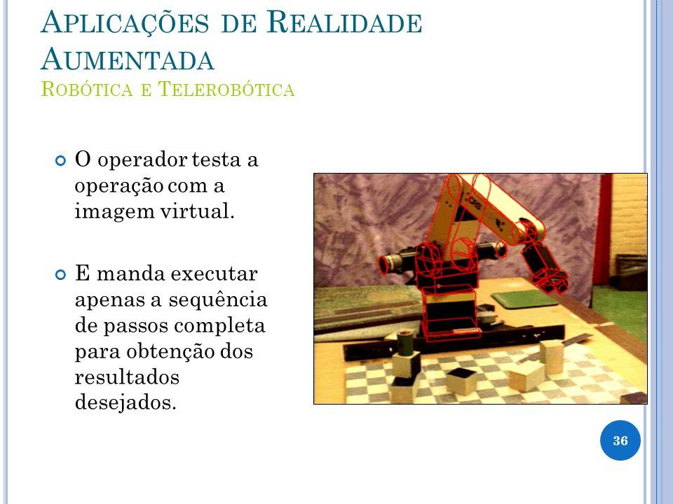 A PLICAÇÕES DE R EALIDADE A UMENTADA R OBÓTICA E T ELEROBÓTICA O operador testa a operação com a imagem virtual. E manda executar apenas a sequência d