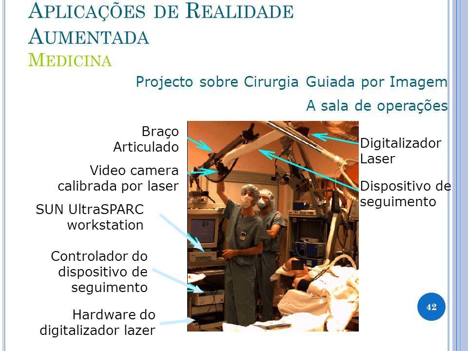 A PLICAÇÕES DE R EALIDADE A UMENTADA M EDICINA Projecto sobre Cirurgia Guiada por Imagem A sala de operações Braço Articulado Video camera calibrada p