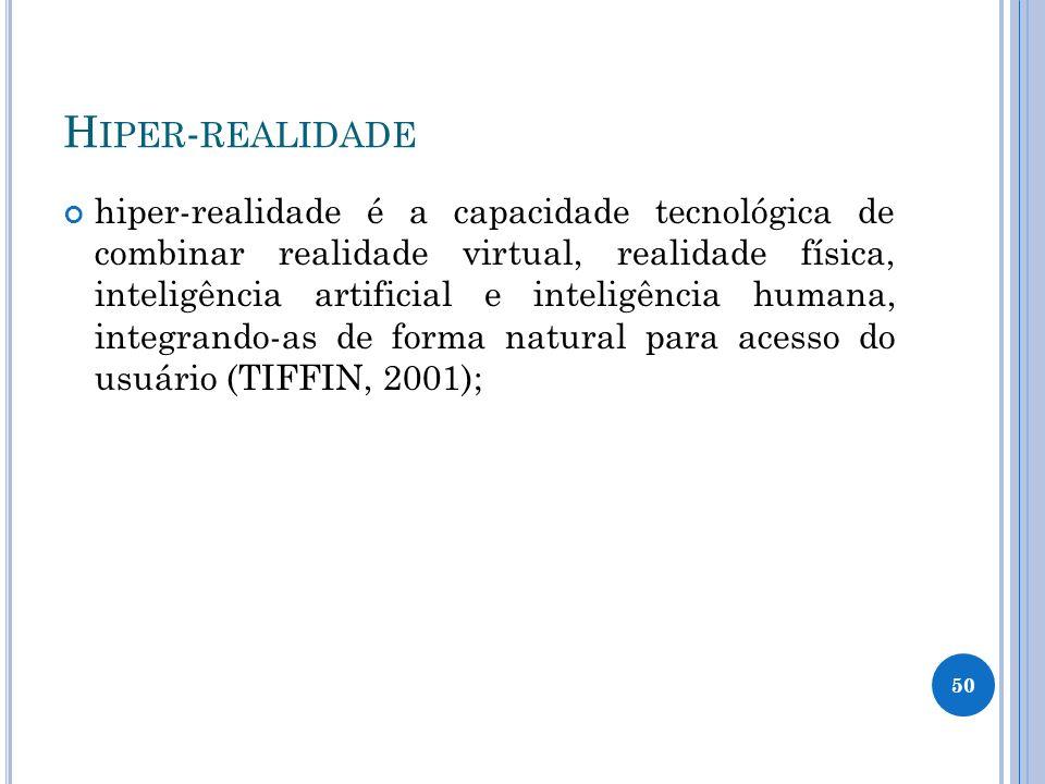 H IPER - REALIDADE hiper-realidade é a capacidade tecnológica de combinar realidade virtual, realidade física, inteligência artificial e inteligência humana, integrando-as de forma natural para acesso do usuário (TIFFIN, 2001); 50