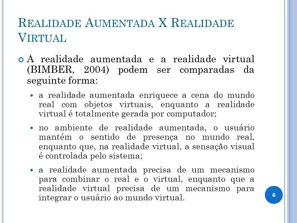 R EALIDADE A UMENTADA X R EALIDADE V IRTUAL A realidade aumentada e a realidade virtual (BIMBER, 2004) podem ser comparadas da seguinte forma: a reali