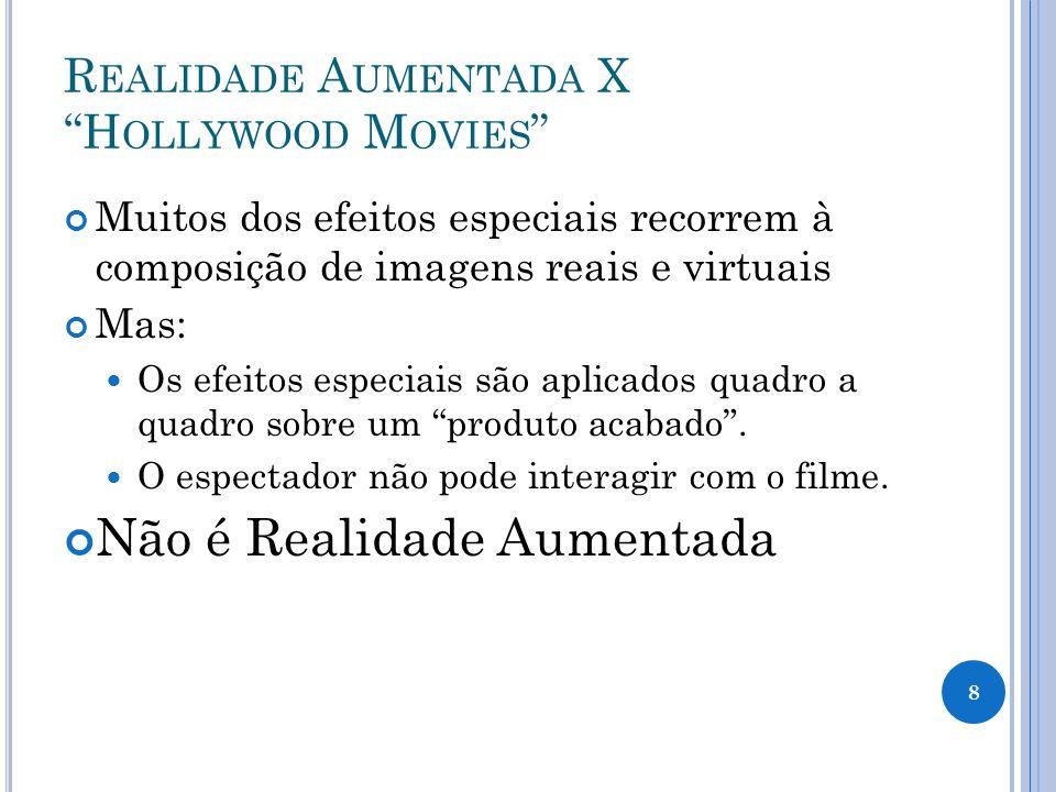 R EALIDADE A UMENTADA X H OLLYWOOD M OVIES Muitos dos efeitos especiais recorrem à composição de imagens reais e virtuais Mas: Os efeitos especiais sã