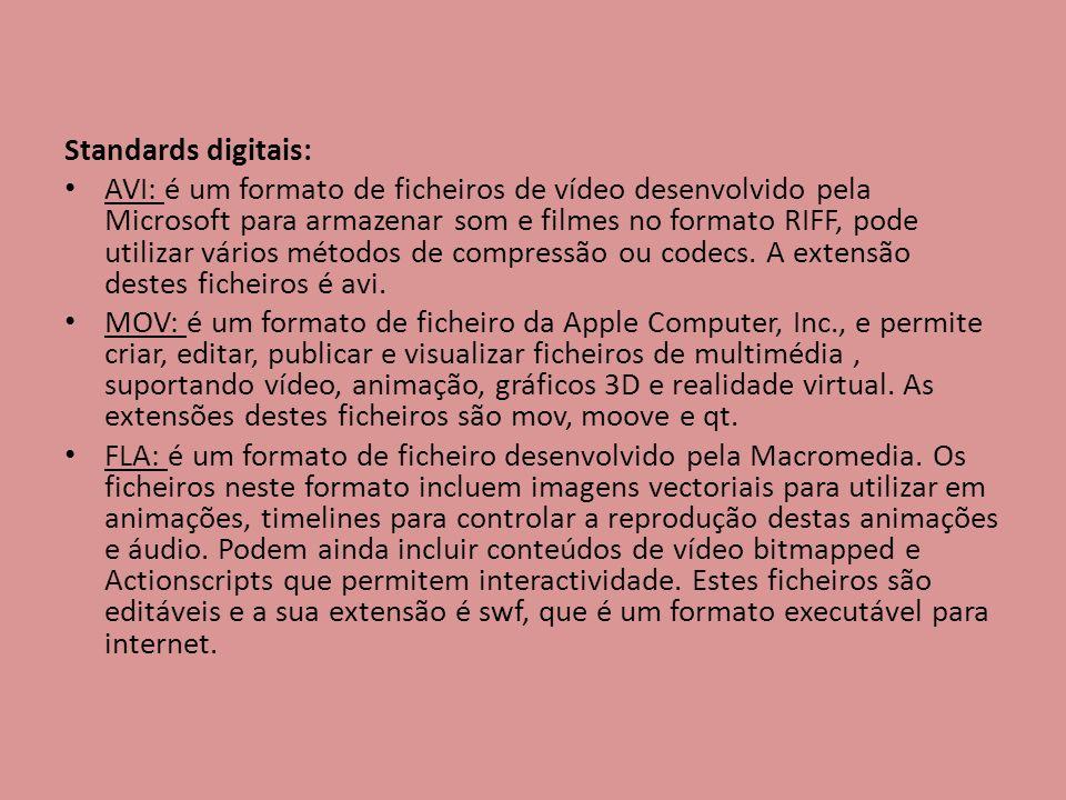 Standards digitais: AVI: é um formato de ficheiros de vídeo desenvolvido pela Microsoft para armazenar som e filmes no formato RIFF, pode utilizar vár