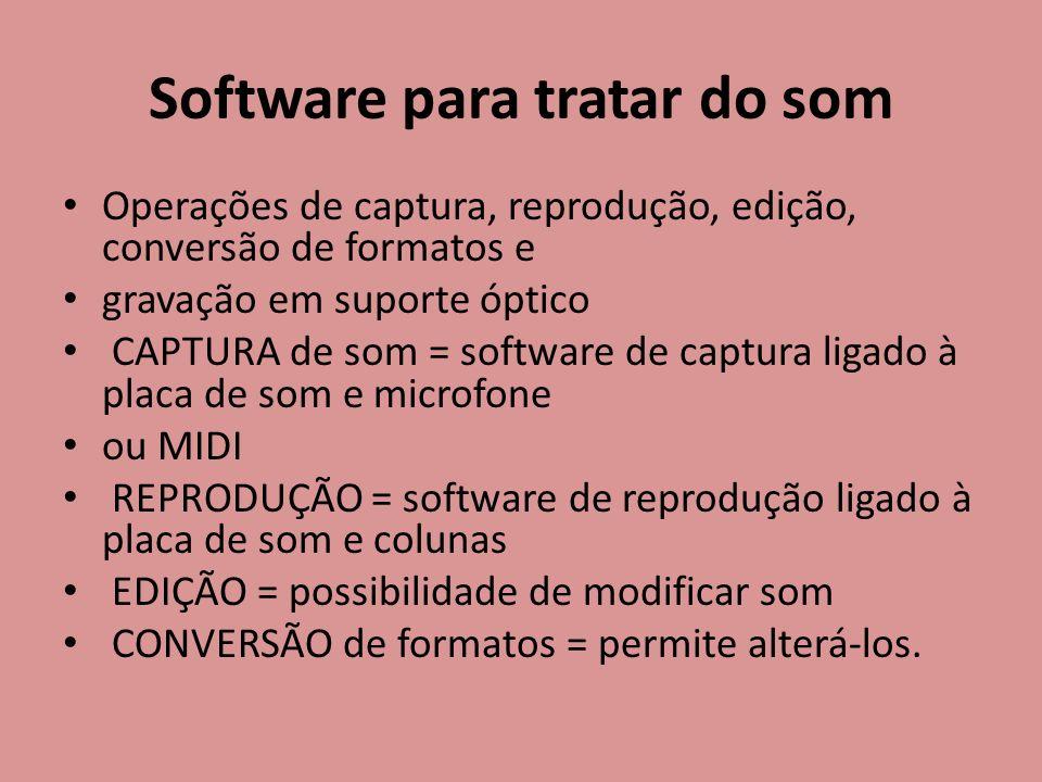 Software para tratar do som Operações de captura, reprodução, edição, conversão de formatos e gravação em suporte óptico CAPTURA de som = software de