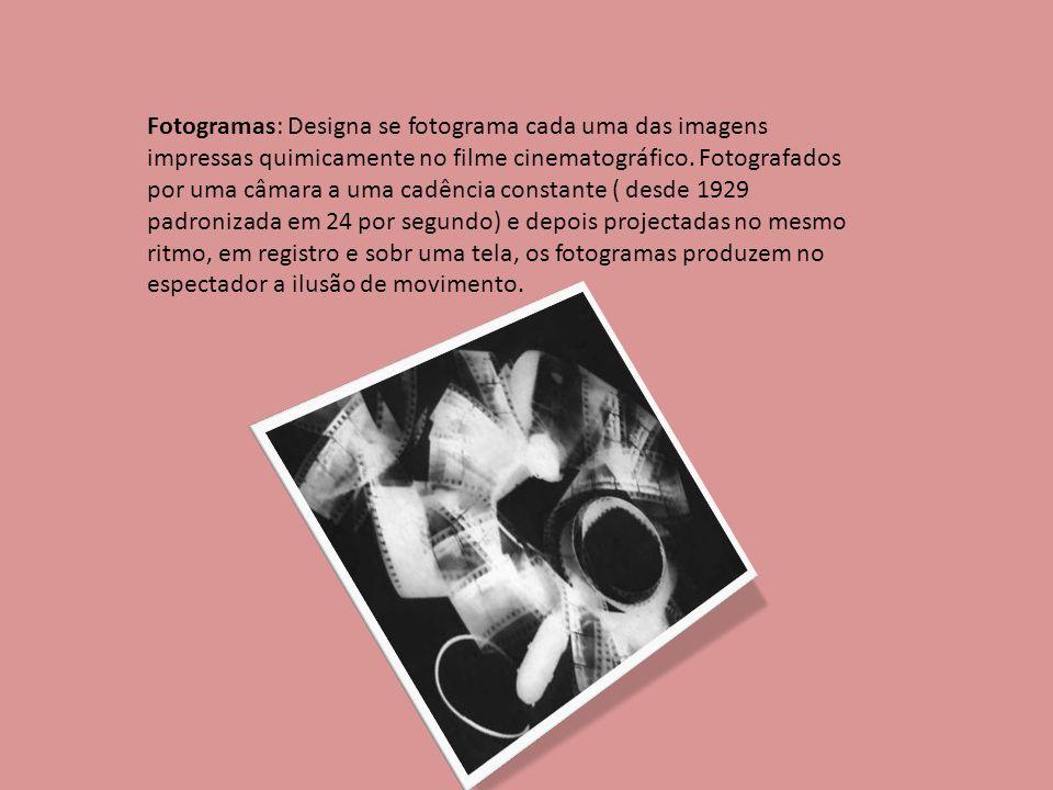Fotogramas: Designa se fotograma cada uma das imagens impressas quimicamente no filme cinematográfico. Fotografados por uma câmara a uma cadência cons