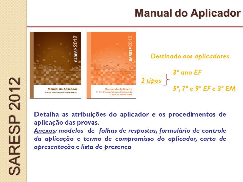 Manual do Aplicador Destinado aos aplicadores 3º ano EF 2 tipos 5º, 7º e 9º EF e 3ª EM Detalha as atribuições do aplicador e os procedimentos de aplicação das provas.