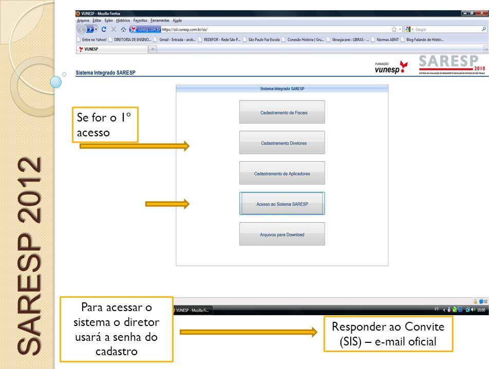 Para acessar o sistema o diretor usará a senha do cadastro Responder ao Convite (SIS) – e-mail oficial Se for o 1º acesso SARESP 2012